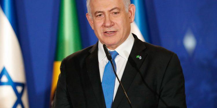 O primeiro-ministro de Israel, Benjamin Netanyahu, em evento com comitiva brasileira em 2019 Foto: Alan Santos/Presidência da República