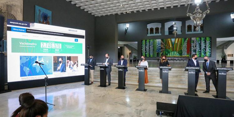 Coletiva de imprensa em que o governador João Doria anuncia retrocesso do Plano SP. Foto: Divulgação