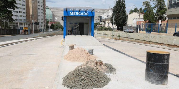 O terminal do Mercado, onde inicia o trecho do Corredor Campo Grande, ainda está em obras. Foto: Leandro Ferreira/Hora Campinas