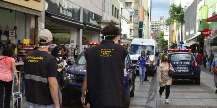Rua Treze de Maio, no centro de Campinas: cidade entra em fase mais restritiva da pandemia: Foto \ Divulgação PMC
