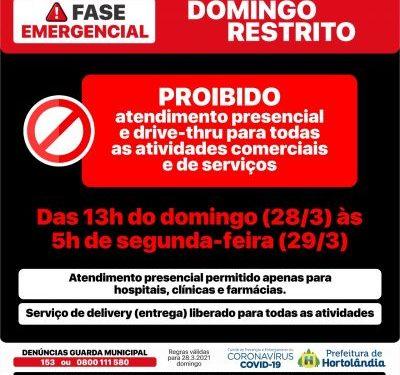 Cartaz que trata das restrições que entram em vigor em Hortolândia a partir da tarde deste domingo, para conter o avanço da pandemia. Foto: Reprodução