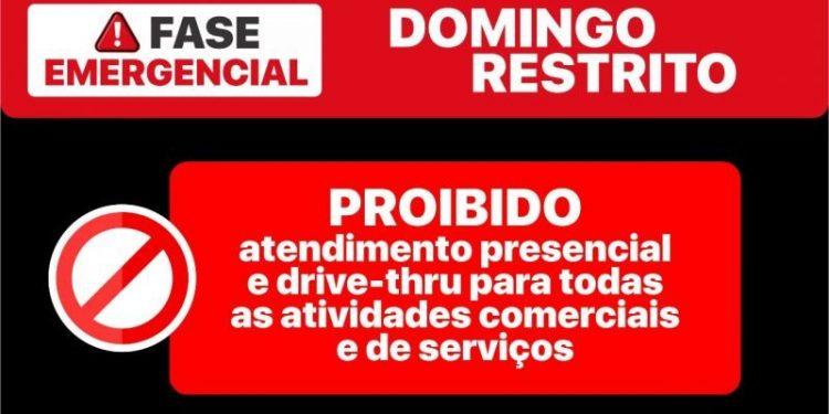 Informativo da Prefeitura  à população sobre as regras restritivas para este domingo. Foto: Prefeitura de Hortolândia