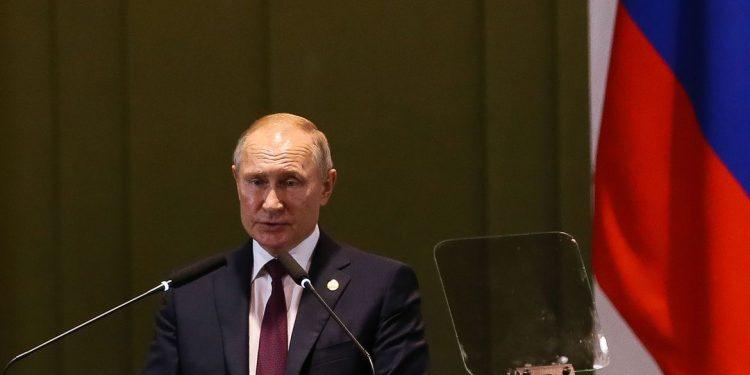 O presidente da Russia, Vladimir Putin, durante Diálogo dos Líderes com o Conselho Empresarial do BRICS. Foto: AB
