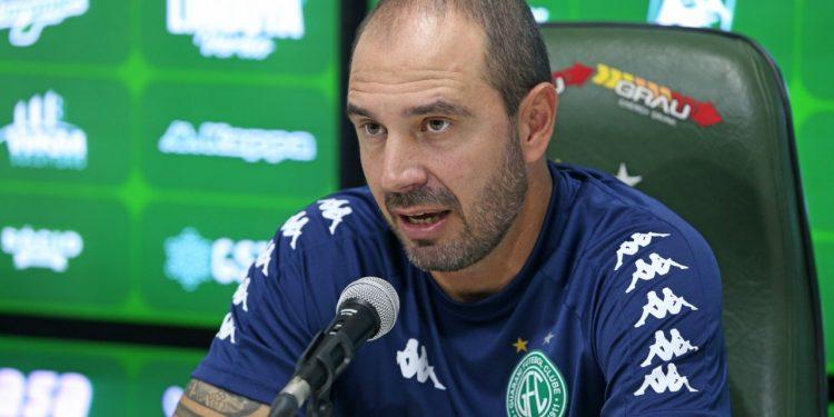 O técnico bugrino Allan Aal concedeu entrevista coletiva. Foto: Thomaz Marostegan/Guarani FC