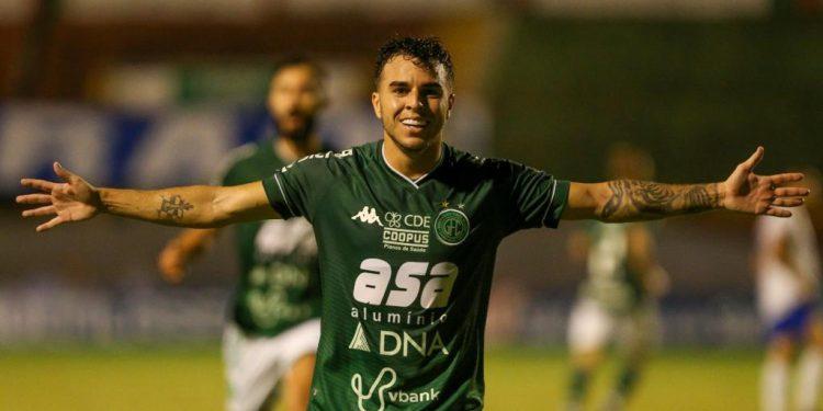 Andrigo, artilheiro do Bugre no Paulistão, comemora o único gol da partida. Thomaz Marostegan/Guarani FC