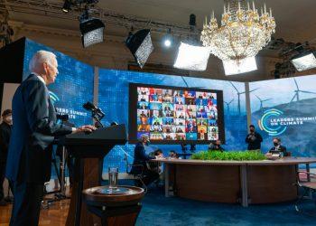 O presidente do Estados Unidos,  Joe Biden, durante a cúpula do clima. Foto: Divulgação