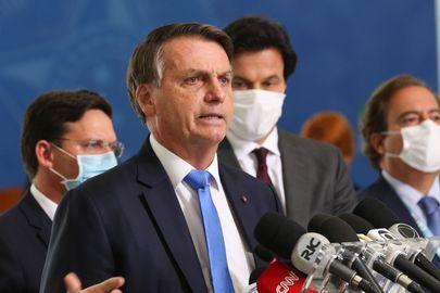 O presidente Jair Bolsonaro, em cerimônia no Palácio do Planalto. Foto: AB