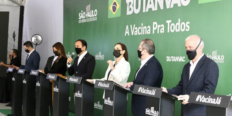 Anuncio oficial do início da produção da vacina Butanvac, feito nesta quarta-feira. Foto: Divulgação