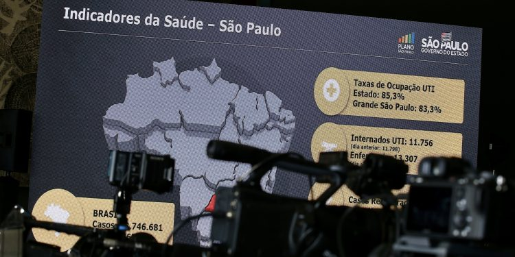 Centro de imprensa, onde o governo do estado presta informações sobre o enfrentamento à pandemia do coronavírus. Foto: Divulgação