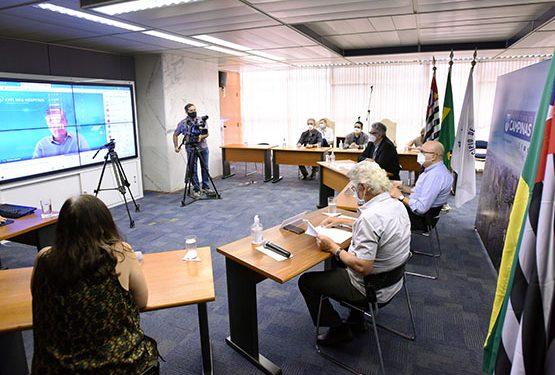 Encontro virtual para a formalização da parceria entre a Prefeitura e a CPFL. Foto: Carlos Bassan/PMC