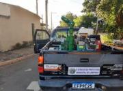 Veículo nebulizador pelas ruas do bairro da Vla Olímpia, na região norte da cidade. Foto: Divulgaçãp \ PMC