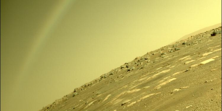A imagem foi capturada pela câmera traseira da sonda, que serve para identificar possíveis perigos na rota de movimentação do veículo Foto: Nasa/Divulgação