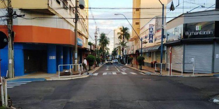 Centro de Araraquara, durante o primeiro lockdown - Foto: Divulgação/Prefeitura de Araraquara