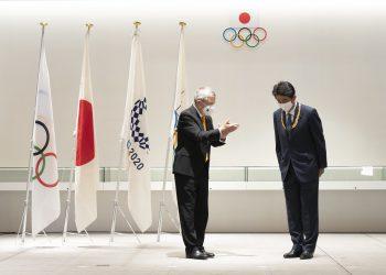 Primeiro-ministro do Japão, Shinzo Abe, durante cerimônia no Museu Olímpico Japonês Foto: Greg Martin/Comitê Olímpico Internacional/Fotos Públicas
