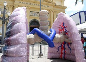 Pulmão gigante estará nesta segunda-feira (31) em Viracopos: informações por meio de QR Code. Foto: Divulgação