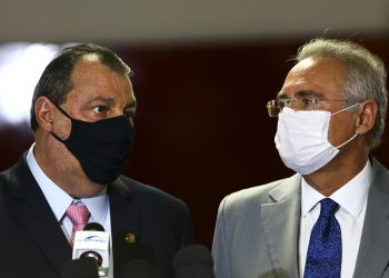 Os senadores Omar Aziz (esq) e Renan Calheiros, presidente e relator da CPI da Covid instalada no Senado; Foto\ AB