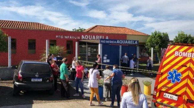 Escola de Educação Infantil onde ocorreu o ataque, no município de Saudades, em Santa Catarina. Foto: reprodução/Twitter