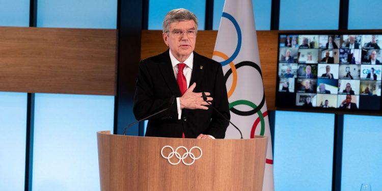 Thomas Bach, presidente do COI: campanha de vacinação lenta no Japão mina a confiança pública já baixa de que a Olimpíada deveria ir adiante Foto: Greg Martin/COI/Divulgação