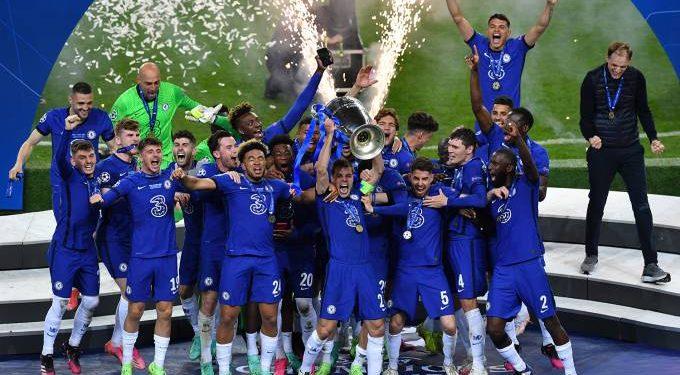 Comemoração do Chelsea após a vitória por 1 a 0 na decisão da Liga. Foto: Uefa