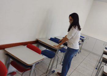 Sala de aula da rede pública de Valinhos sendo preparada para o retorno dos alunos. Foto: Divulgação