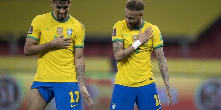 Comemoração do segundo gol brasileiro em cima do Equador, com direito a dancinha. Foto: Lucas Figueiredo/CBF