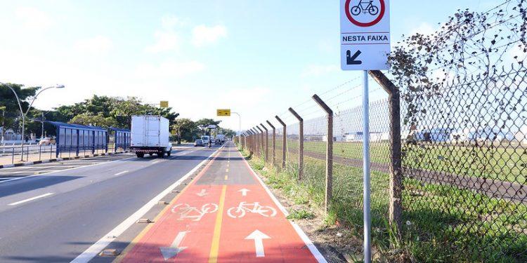A ciclofaixa dos Amarais tem interligação com a da Avenida Theodureto, que leva ao Taquaral. Foto: Fernanda Sunega/PMC