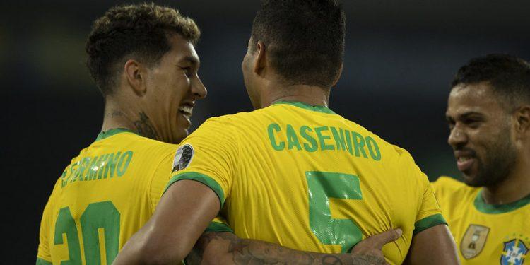 Firmino marcou o gol de empate e Casemiro colocou o Brasil em vantagem na partida. Foto: Lucas Figueiredo/CBF