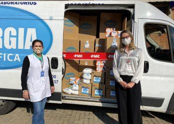 Momento das doações dos insumos hospitalares para a Saúde de Campinas: solidariedade e responsabilidade social Foto: Divulgação