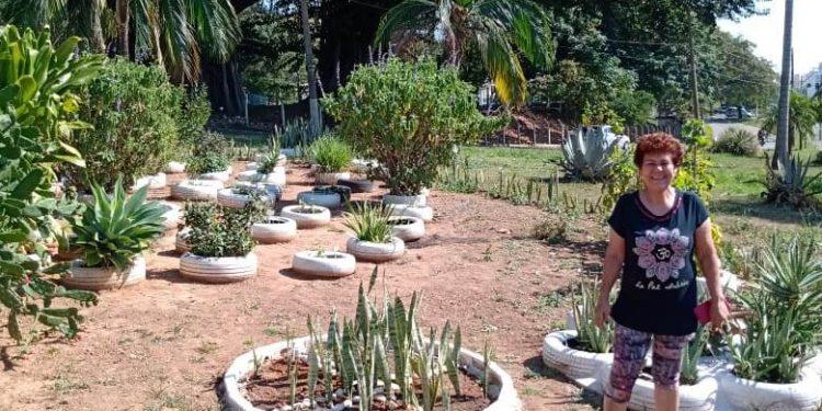 Mailda Assato, que deu início aos plantios e é a idealizadora da horta comunitária - Fotos: Divulgação