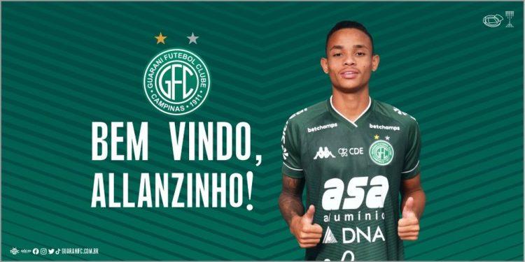 Allanzinho tem contrato com o Santos até dezembro de 2024: sonho antigo do Bugre. Foto: Guarani FC/Divulgação