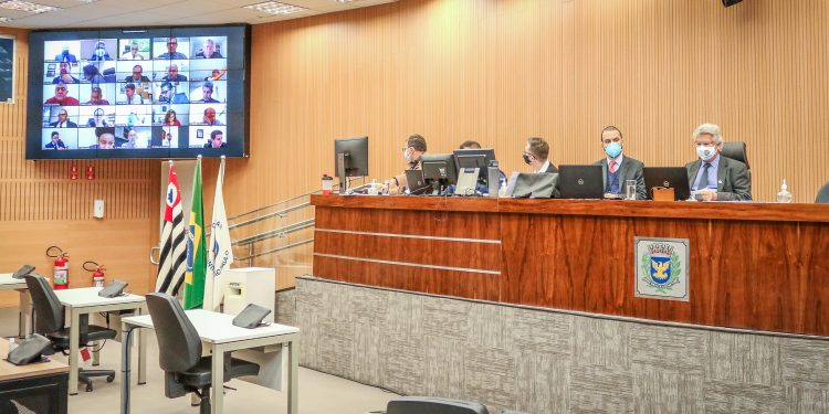 Plenário da Câmara de Campinas, em sessão remota: polêmica. Fotos \ Divulgação CMC