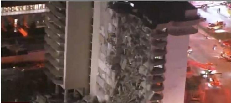 Prédio em que parte desabou em Miami: estimativa é que  150 ainda estão desaparecidos