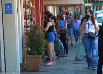 Pessoas no centro de Pedreira - cidade da regional de saúde Campinas que registra aumento de mais de 200% nos casos de Covid.  Foto: Leandro Ferreira \ Hora Campinas