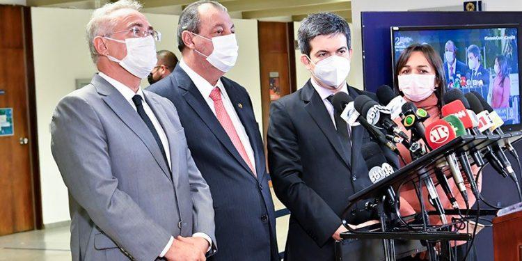 Membros da CPI da Pandemia, após os depoimentos dos irmãos Miranda. Foto \ Agência Senado
