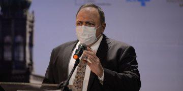 O ministro da Saúde, Eduardo Pazuello durante cerimônia de divulgação do edital de licitação do Complexo Industrial de Biotecnologia em Saúde-CIBS, na Fiocruz.