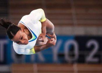 A ginástica artística brasileira realiza treino de apresentação. Foto: COB