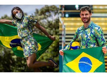 Os porta-bandeiras do Brasil Ketleyn Quadros (judô) e Bruno Rezende (vôlei). Foto: COB