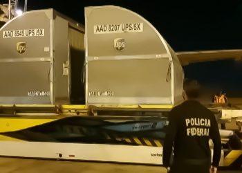 Carregamento da vacina da Pfizer, chega ao aeroporto Internacional de Campinas. Foto: Divulgação