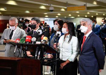 Senadores que integram a CPI da Covid em enrtevista coletiva. Foto: Agência Senado