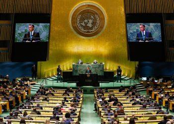 Discurso do presidente Jair Bolsonaro na ONU, na manhã desta terça-feira Foto: Alan Santos/PR