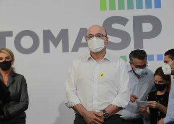 O prefeito Dário Saadi durante o evento de lançamento do programa RetomaSP, na última sexta-feira, no Largo do Rosário, onde recebeu João Doria Foto: Leandro Ferreira/Hora Campinas