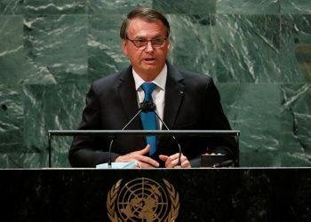 O presidente Jair Bolsonaro no discurso na ONU. Foto: Agência Brasil