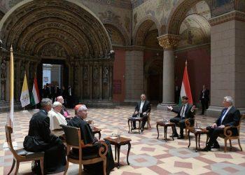 O encontro do papa Francisco foi no Museu de Belas Artes da Hungria. Foto: Vaticano News