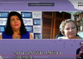 """Emília Cipriano e a mediadora Flávia Vivaldi: """"educadores têm um legado para deixar"""" - Fotos: Reprodução"""