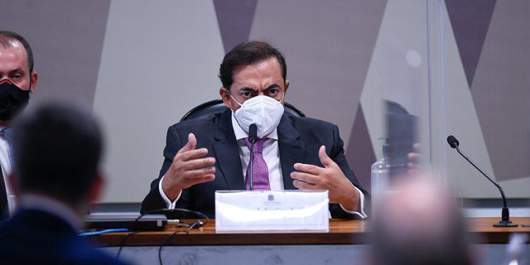 O advogado Marcos Tolentino apontado como sócio oculto da empresa FIB Bank em audiência da CPI. Foto: Edilson Rodrigues/Agência Senado
