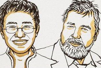 Maria Ressa e Dmitry Muratov, jornalistas comprometidos com a democracia e a defesa da paz Ilustração: Academia Sueca