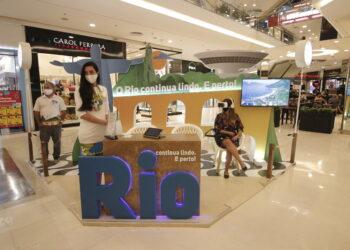 Estande no Barra Shopping, no Rio, valoriza as belezas da cidade Foto: Flávio Cabral/Divulgação