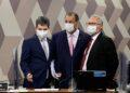 Os senadores Randolfe Rodrigues, Omar Aziz e Renan Calheiros: CPI. Foto: Pedro França / Agência Senado
