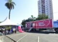 A carreta para exames de mamografia permanecerá na Sanasa até este sábado (23). Foto: Divulgação
